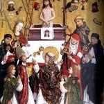 Messe des hl. Grergor mit Heiligen. Epitaph des Heinrich Wolff von Wolffstal. Franken um 1490